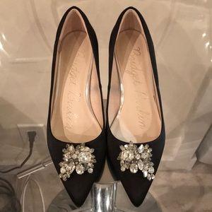 Shoes - Satin embellished kitten pumps